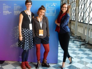 The team of Sustaining Peace at the Summit in Barcelona: Clara, Mascha and Svenja